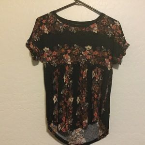 Forever 21 Short Sleeve Flower Top Shirt XS Black